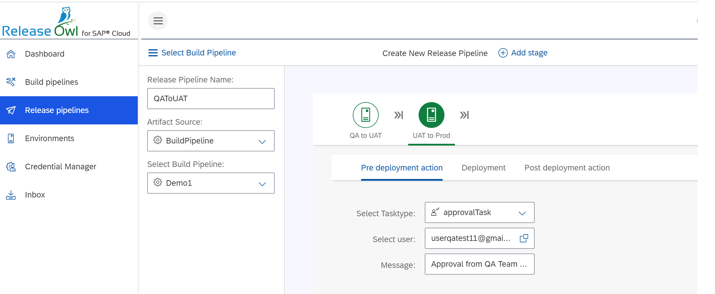 Multi stage deployment pipeline for SAP Cloud